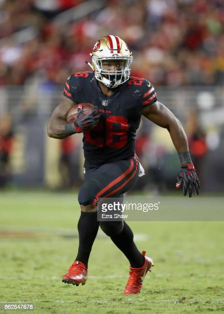 Carlos Hyde of the San Francisco 49ers in action against the Los Angeles Rams at Levi's Stadium on September 21 2017 in Santa Clara California