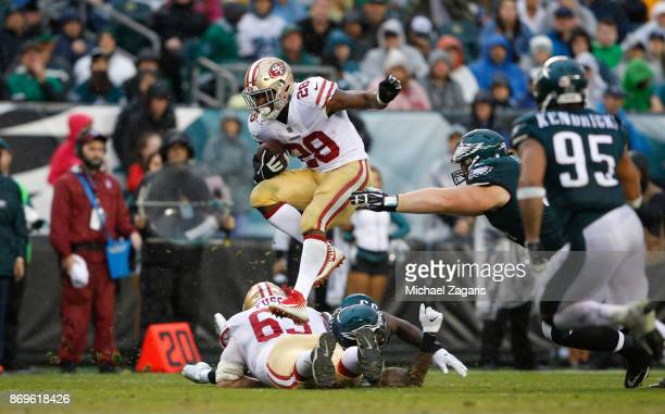 Carlos Hyde of the San Francisco 49ers rushes during the game against the Philadelphia Eagles at Lincoln Financial Field on October 29 2017 in...