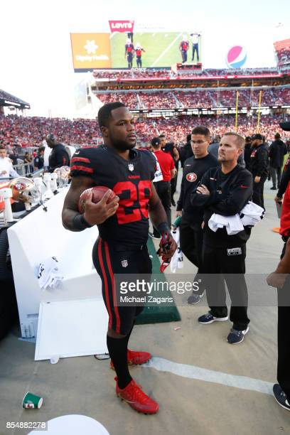 Carlos Hyde of the San Francisco 49ers stands on the sideline during the game against the Los Angeles Rams at Levi's Stadium on September 21 2017 in...