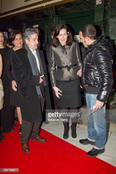 Carlos Iglesias and Angeles Gonzalez Sinde attend Ispansi photocall at Capitol cinema on March 3 2011 in Madrid Spain