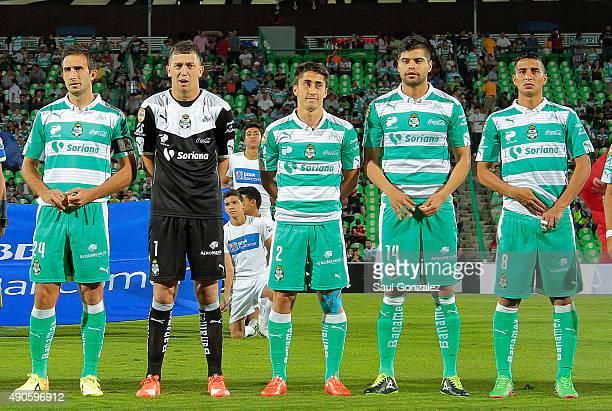 Carlos Izquierdoz Agustin Marchesin Jose Abella Nestor Araujo and Diego Gonzalez look on prior the 11th round match between Santos Laguna and Dorados...