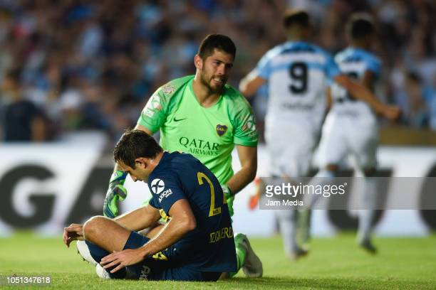 Carlos Izquierdoz and Agustin Rossi of Boca react during a match between Racing Club and Boca Juniors as part of Superliga 2018/19 at Juan Domingo...