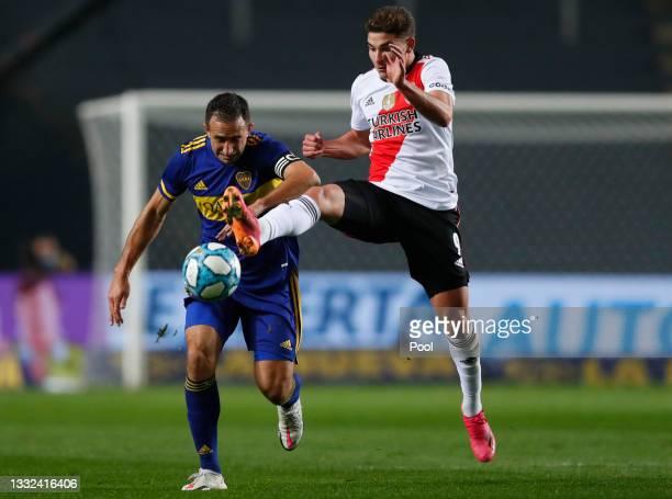 Carlos Izquierdoz of Boca Juniors controls the ball against Julián Álvarez of River Plate during a round of sixteen match of Copa Argentina 2021...