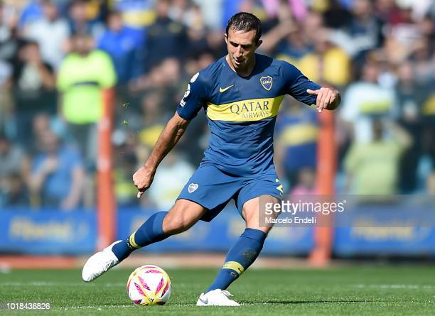 Carlos Izquierdoz of Boca Juniors kicks the ball during a match between Boca Juniors and Talleres as part of Superliga Argentina 2018/19 at Estadio...
