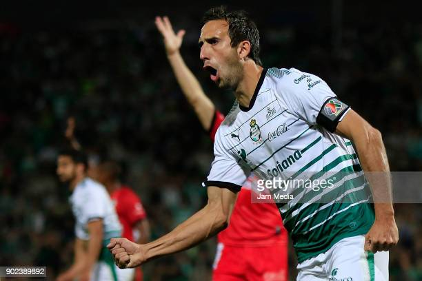 Carlos Izquierdoz of Santos celebrates after scoring the fourth goal his team during the first round match between Santos Laguna and Lobos BUAP as...