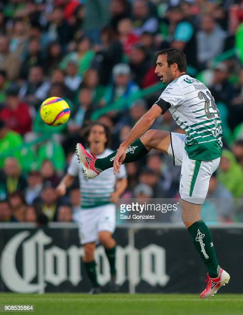 Carlos Izquierdoz of Santos controls the ball during the 3rd round match between Santos Laguna and Morelia as part of the Torneo Clausura 2018 Liga...