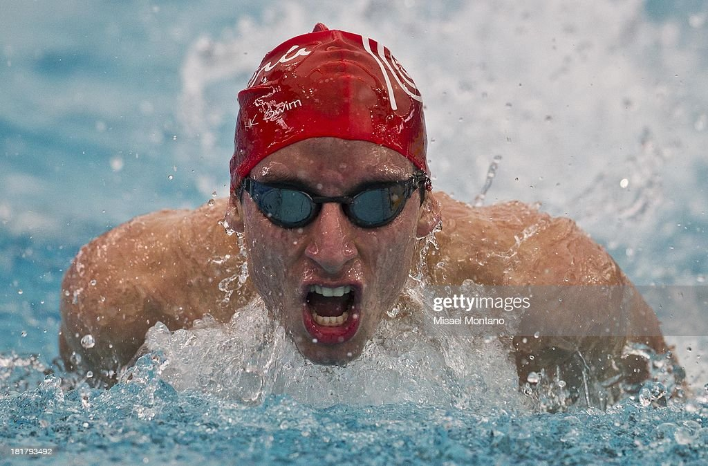 Carlos Jimenez of Peru competes during the men's 200 meter Breaststroke as part of the I ODESUR South American Youth Games at Piscina Olímpica Campo de Marte on September 25, 2013 in Lima, Peru.