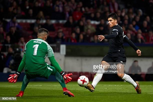Carlos Joaquin Correa of Sevilla FC shots on goal during the Copa del Rey Round of 8 first Leg match between Atletico de Madrid and Sevilla FC at...