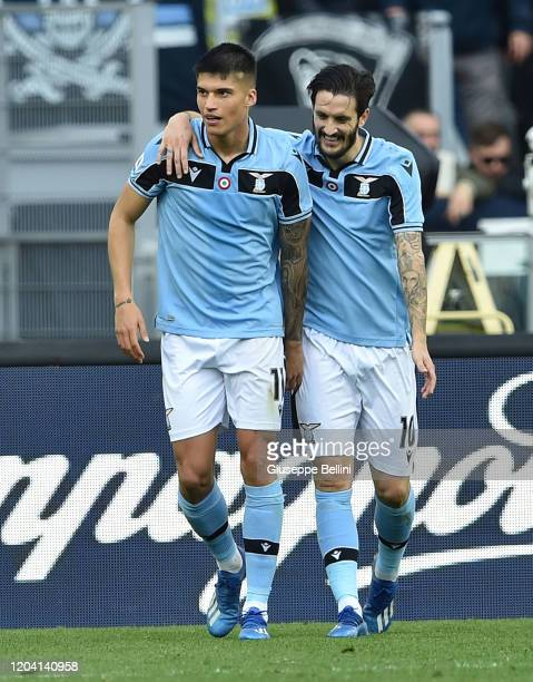 Carlos Joaquin Correa of SS Lazio celebrates with his teammate Luis Alberto Romero Alconchel after scoring goal 20 during the Serie A match between...