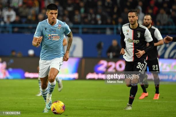 Carlos Joaquin Correa of SS Lazio controls the ball during the Italian Supercup match between Juventus and SS Lazio at King Saud University Stadium...
