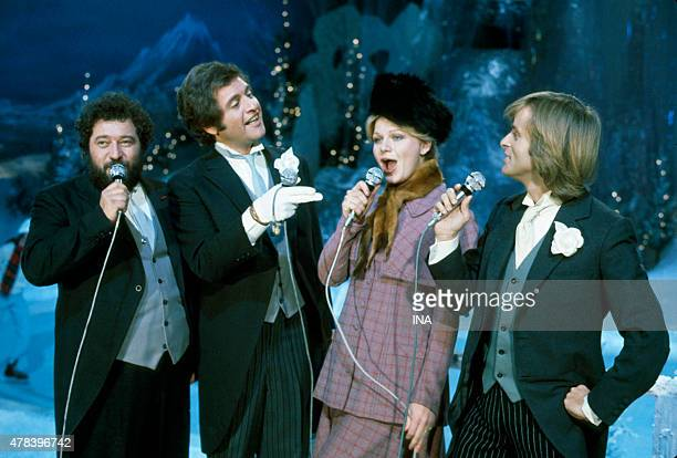 Carlos Joe Dassin Jeane Manson and Dave during their interpretation for the program ''Number one''