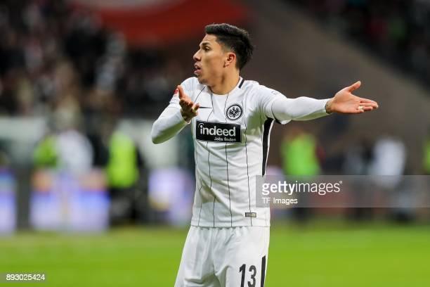 Carlos Joel Salcedo Hernandez of Frankfurt gestures during the Bundesliga match between Eintracht Frankfurt and FC Bayern Muenchen at...