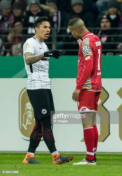 Carlos Joel Salcedo Hernandez of Frankfurt speaks with Danny Blum of Frankfurt during the DFB Cup match between Eintracht Frankfurt and 1 FSV Mainz...