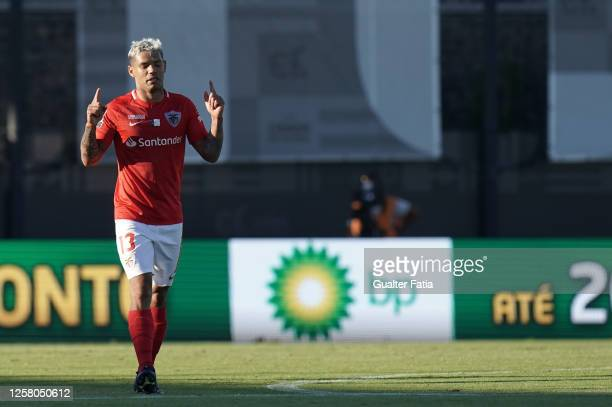 Carlos Junior of CD Santa Clara celebrates after scoring a goal during the Liga NOS match between CD Santa Clara and Vitoria SC at Estadio Cidade do...