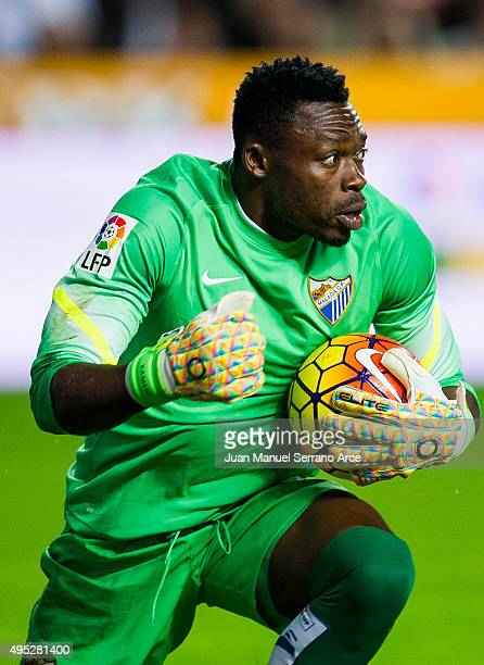 Carlos Kameni of Malaga CF controls the ball during the La Liga match between Real Sporting de Gijon and Malaga CF at Estadio El Molinon on November...