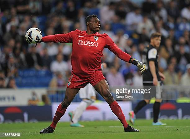 Carlos Kameni of Malaga CF in action during the La Liga match between Real Madrid CF and Malaga CF at estadio Santiago Bernabeu on May 8 2013 in...