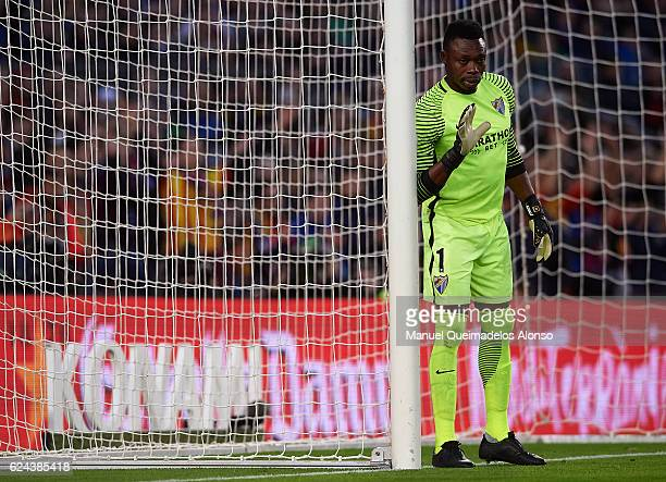 Carlos Kameni of Malaga gives instructions during the La Liga match between FC Barcelona and Malaga CF at Camp Nou stadium on November 19 2016 in...