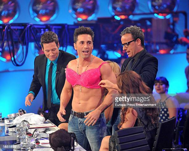 Carlos Latre David Bustamante and Angel Llacer attend the charity gala 'Tu Cara Me Suena' Tv programme on October 17 2013 in Madrid Spain