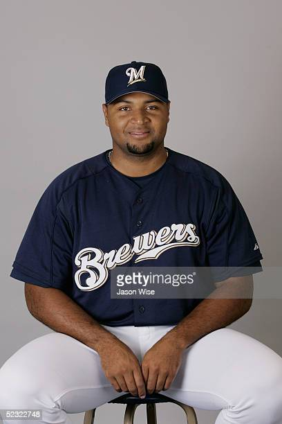 Carlos Lee of the Milwaukee Brewers poses for a portrait during photo day at Maryvale Stadium on March 1 2005 in Phoenix Arizona