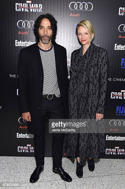 Carlos Leon and Betina Holte attend the screening Of Marvel's Captain America Civil War hosted by The Cinema Society with Audi FIJI at Henry R Luce...