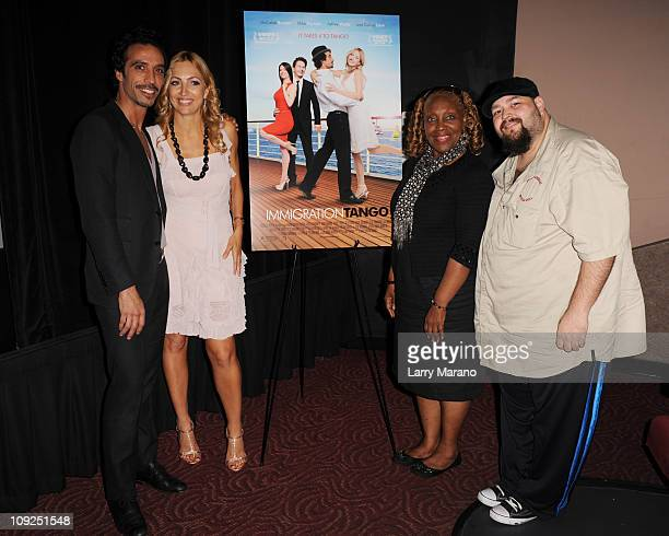 Carlos Leon Elika Portnoy Avery Somers and a member of the cast attend the Miami screening of Immigration Tango at AMC Sunset Place on February 17...