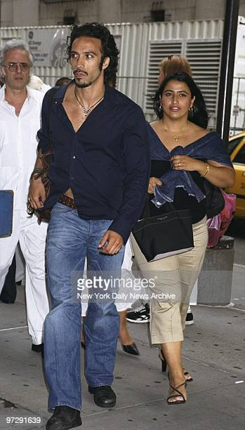 Carlos Leon father of Madonna's 4yearold daughter Lourdes arrives with friend at Madison Square Garden to see the first of the Material Girl's five...