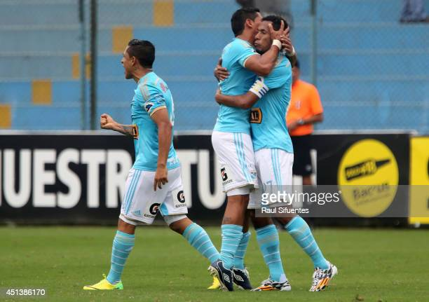 Carlos Lobaton of Sporting Cristal celebrates a scored goal against Inti Gas during a match between Sporting Cristal and Inti Gas as part of fourth...