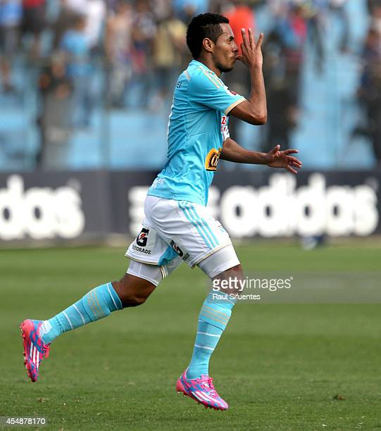 Carlos Lobaton of Sporting Cristal celebrates a scored goal against UTC during a match between Sporting Cristal and UTC as part of first round of...