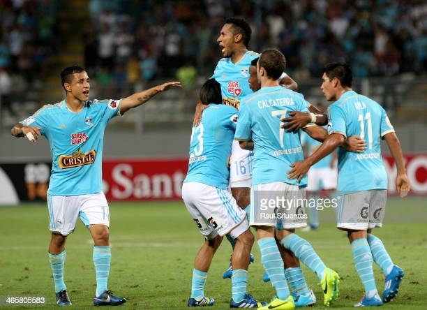 Carlos Lobaton of Sporting Cristal celebrates a scored goal against Atletico PR as part of the Copa Bridgestone Libertadores 2014 at Nacional Stadium...