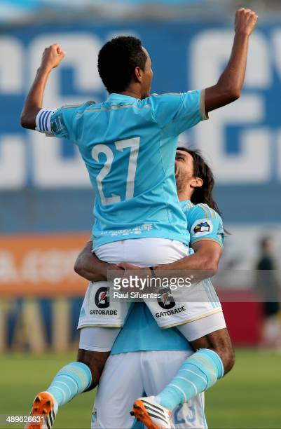 Carlos Lobaton of Sporting Cristal celebrates after scoring his team's second goal during a match between Sporting Cristal and Juan Aurich as part of...