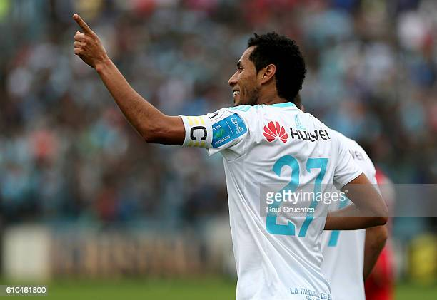Carlos Lobaton of Sporting Cristal celebrates after scoring the first goal of his team during a match between Sporting Cristal and Juan Aurich as...