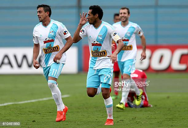 Carlos Lobaton of Sporting Cristal celebrates after scoring the first goal of his team against Juan Aurich during a match between Sporting Cristal...