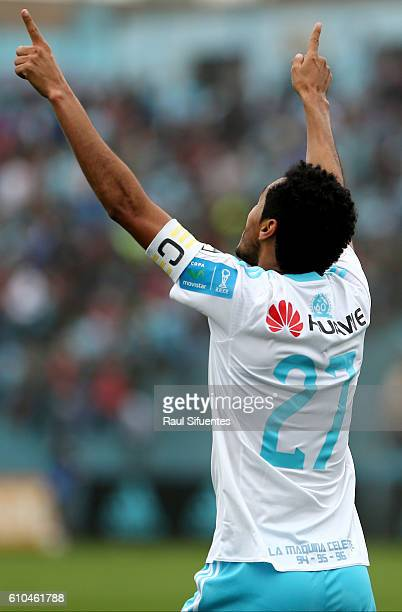 Carlos Lobaton of Sporting Cristal celebrates the first goal of his team during a match between Sporting Cristal and Juan Aurich as part of Torneo...