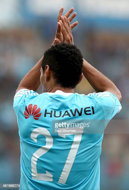 Carlos Lobaton of Sporting Cristal celebrates the second goal of his team against San Martin during a match between Sporting Cristal and San Martin...