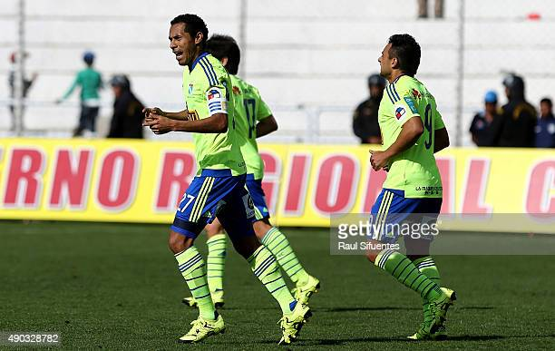 Carlos Lobaton of Sporting Cristal celebrates the second goal of his team against Cienciano during a match between Cienciano and Sporting Cristal as...