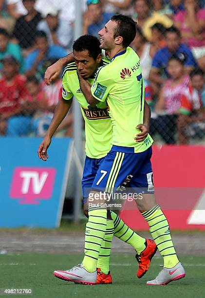 Carlos Lobaton of Sporting Cristal celebrates the second goal of his team against Sport Loreto during a match between Sport Loreto and Sporting...