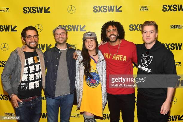 Carlos Lopez Keith Calder Jess Calder Daveed Diggs and Rafael Casal attend the Blindspotting Premiere 2018 SXSW Conference and Festivals at Paramount...
