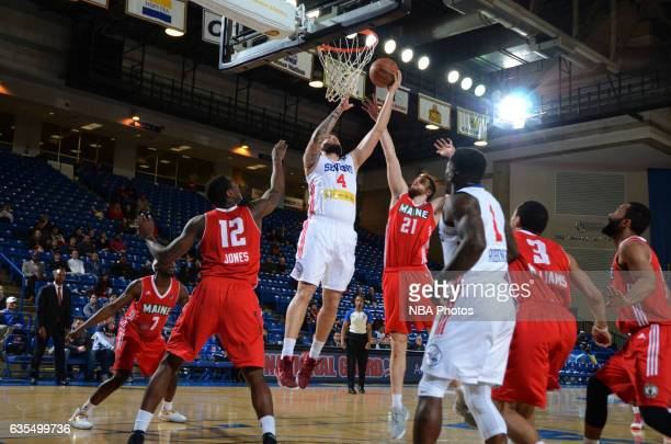 Carlos Lopez of the Delaware 87ers goes up for a shot during the game against the Maine Red Claws on February 14 2017 at the Bob Carpenter Center in...