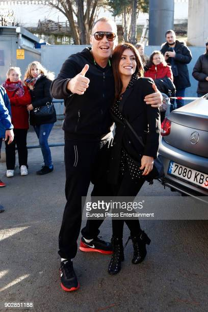 Carlos Lozano and Miriam Saavedra attend the Celebrities against Bullfighters charity foootball match on December 30 2017 in Madrid Spain