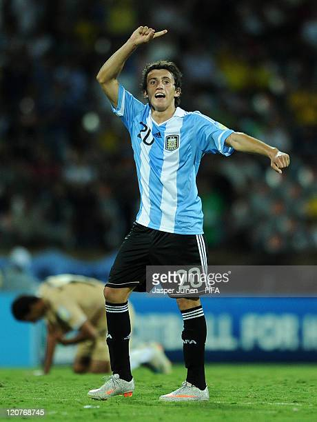 Carlos Luque of Argentina celebrates at the end of the FIFA U20 World Cup Colombia 2011 round of 16 match between Argentina and Egypt at the Atanasio...