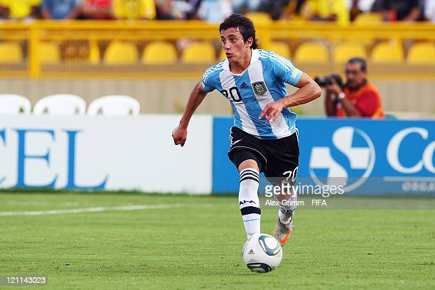 Carlos Luque of Argentina controles the ball during the FIFA U20 World Cup 2011 quarter final match between Portugal and Argentina at Estadia Jaime...