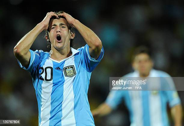 Carlos Luque of Argentina reacts during the FIFA U20 World Cup Colombia 2011 round of 16 match between Argentina and Egypt at the Atanasio Girardot...