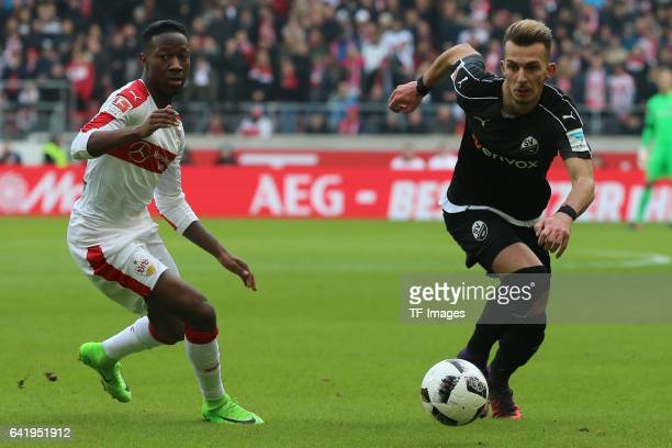 Carlos Mane of Stuttgart and Leart Paqarada of Sandhausen battle for the ball during the Second Bundesliga match between VfB Stuttgart and SV...