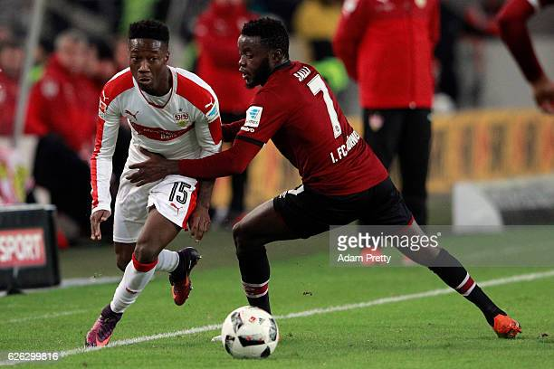 Carlos Mane of Stuttgart is challenged by Edgar Salli of Nuernberg during the Second Bundesliga match between VfB Stuttgart and 1 FC Nuernberg at...