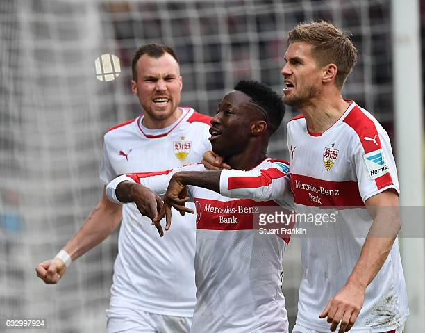Carlos Manuel Cardoso Mane of Stuttgart celebrates scoring the goal during the Second Bundesliga match between FC St Pauli and VfB Stuttgart at...