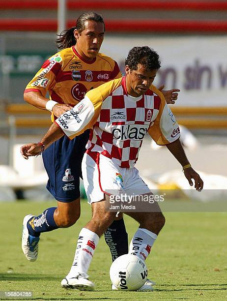 Carlos Maria Morales fight for the ball during a match between Morelia and Tecos as part of the Clausura 2005 tournament April 20, 2005 in Zapopan,...