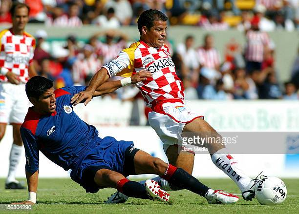Carlos Maria Morales fights for the ball during a match between Chivas and Tecos as part of the Clausura 2005 May 1, 2005 in Zapopan, Mexico.