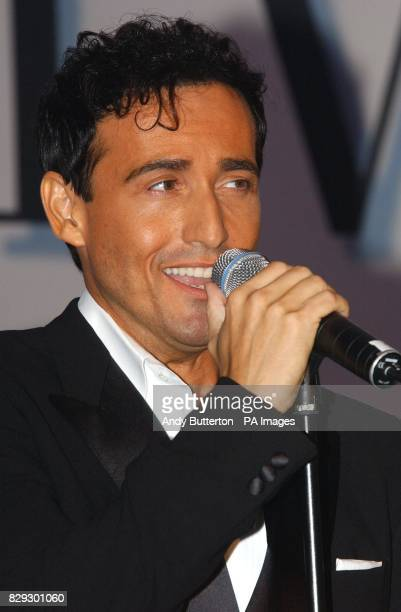 Carlos Marin, baritone from Spain performs during the launch of pop svengali Simon Cowell's new band Il Divo at the Mandarin Oriental in London....