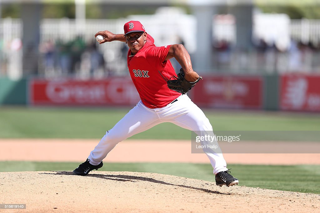 Carlos Marmol #41 of the Boston Red Sox pitches during the fifth inning of the Spring Training Game against the Pittsburgh Pirates on March 14, 2016 during the Spring Training Game at Jet Blue Park at Fenway South, Fort Myers, Florida. The Pirates defeated the Red Sox 3-1.