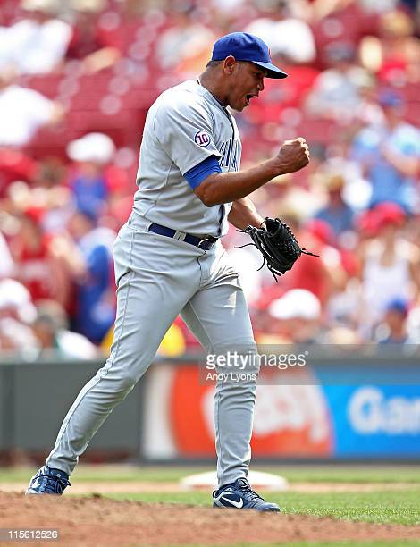 Carlos Marmol of the Chicago Cubs celebrates after the final out of the game against the Cincinnati Reds at Great American Ball Park on June 8 2011...